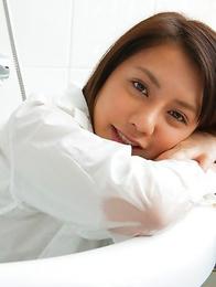 Mei Matsumoto spoils big bum, big jugs and cunt with shower