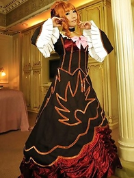 Saku is the most amazing blonde in epoque dress and room
