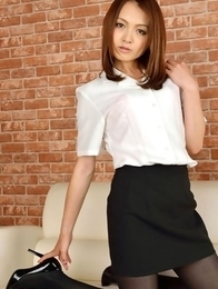 Rina Itoh in office outfit and heels shows legs in nylon