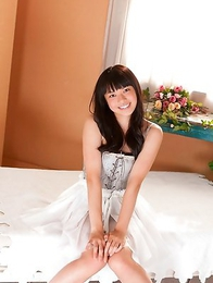 Tomoe Yamanaka is sexy doll in fluffy dress in her bed