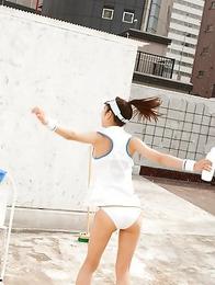 Kana Yuuki takes tennis skirt off while playing with ball