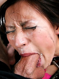 Miho Kanno super sexy celebrity shows off how good she is at swallowing cock and begs for more as her face is smothered with throat slime.