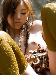 Beauty and sexy Japanese av idol Miyu Sakurai shows her amazing naked body at outdoors