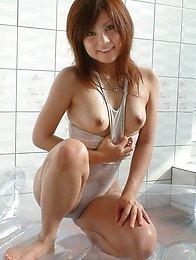 Busty and horny Japanese av idol Mai Miyashita shows her naked body after stripping her swimsuit