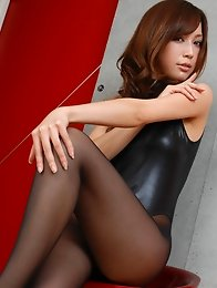 Long legged asian goddess in black pantyhose and a swim suit