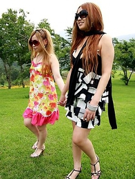 Cute Japanese babes pose outdoors