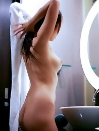 Japan model Koisaya strip and poses in bedroom
