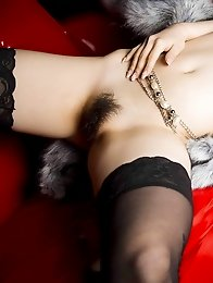 Chubby japanese girl Kei Megumi in black stockings shows monster tits and hairy pussy