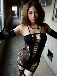 Lovely and busty Japanese av idol Nami Hoshino shows her sexiness with her lingerie