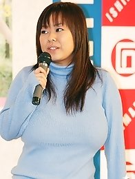 Giant tits Fuko in the presentation of one of her movies in Japan