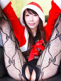 Aya Kisaki Santa girl shows her pussy in crotchless stockings