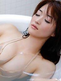 Slim japanese Mai Hakase posing in the bathrrom her beautiful breasts