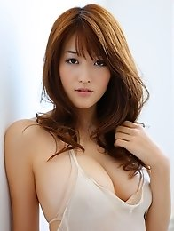 Slim japanese Mai Hakase posing in the bathrrom her beautiful breasts