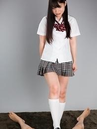 Cheerful schoolgirl Sana Iori using her perfect feet to get him off real quick